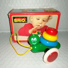 Brio Little Snail Red Blue Yellow Green Wooden Small 3.5in Toy Unused Open Box