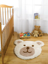 Flair Rugs Nursery Teddy Bear Shaped Childrens Rug Natural 75 X 80 Cm