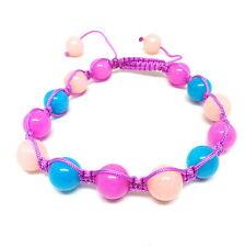 Jade bead blue and pink woven friendship shamballa bracelet - balouli
