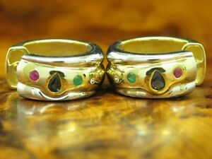14kt 585 Yellow Gold Creoles with Diamond, Sapphire, Emerald And Ruby Trim