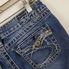 Silver Pioneer Boot Cut Distress Women's Medium Wash Blue Jeans Sz 28x33 - 30x32