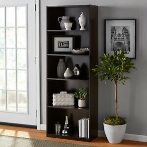 "71"" tall wooden adjustable 5 Shelf Bookcase"