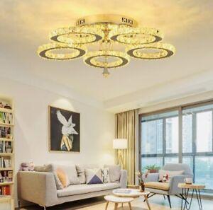 Modern Crystal LED Ceiling Light Chandelier Pendant Hanging Lamp Light Fixtures