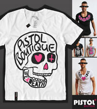 Pistol Boutique men's Fitted White Scoop neck LIFE & DEATH DOODLE SKULL T-shirt