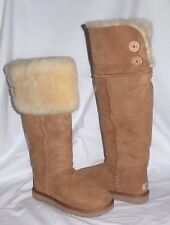 UGG OVER THE KNEE CHESTNUT BAILEY BUTTON CLASSIC SHEEPSKIN BOOTS US10 EU41 NIB