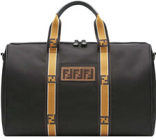 8b65656dd1 NEW Fendi FF Patterned Holdall Weekender Black Gold Duffel Nylon Leather