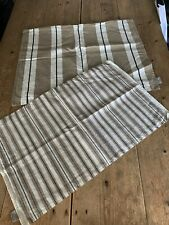 2 x Natural Beige & Ivory Stripe LINUM Scandinavian Linen Cotton CUSHION COVERS