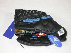 "Mizuno Prospect Series Powerclose™ Baseball Glove 10.5"" LEFT HAND THROW BK/BLUE"