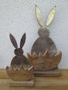 Hase aus Metall im Halb Mango Holz Ei  Klein oder Gross Deko Wohnen Ostern