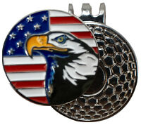 Golf ball marker with magnetic hat clip : Bald Eagle USA Flag