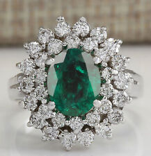 1.80Ct Natural Zambian Green Emerald EGL Certified Diamond Ring 14KT White Gold