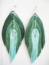 Ombre Teal Green Feather Earrings - Super Cute! Drop Dangle Jewelry