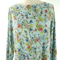 J. Jill Womens Knit Top Size Large Floral 3/4 Sleeve Tunic Cotton