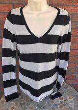 Gap Sweater Small Gray Black Striped Rabbit Hair V-Neck Stretch