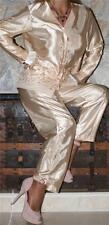 L / XL GLOSSY GOLD VINTAGE LIQUID SATIN LINGERIE TOP PANTS P.J. SLIP Pajama SET