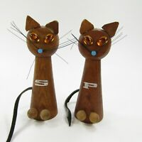 Vintage Wooden Cat Salt Pepper Shakers Set Leather Tails MCM Whiskers INV436