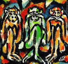 JACQUELINE DITT - Drei Affen Artcard three Monkeys 3 Affe Karte mit Kuvert