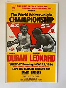 "Original Duran vs Leonard Boxing Poster 14"" x 21.75"" EX 1980 Closed Circuit TV"