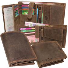 Men's Leather Wallet Purse Purse Wallet Vertical Format Buffalo Leather Rfid