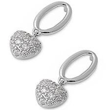 CZ HEART DANGLING STYLE .925 Sterling Silver Earring