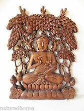"17"" LARGE WOOD  BUDDHA  WALL PANEL, SCULPTURE , HAND CARVED,STUNNING!"