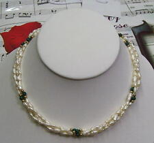 Triple Strand Fresh Water Pearls With Malachite & 14K GF Beads Necklace,FWMN02