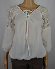 American Rag Cie Womens White Lace Trim Tie-Front Blouse Top Size M