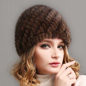 100% reale Nerzpelz-Kappe Winter-Frauen strickte Pelz-Hut-Oberseiten-Mütze