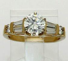 Diamond engagement ring 14K yellow gold 1.10CT round brilliant baguettes 1.70CTW