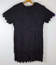 womans plus size 24 Beaded and sequined black cocktail dress 100% silk polylined