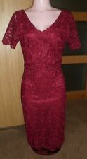 RUBY RED LACE AUTOGRAPH M & S EVENING PARTY EVENING PENCIL DRESS UK 8 NEW RP £89