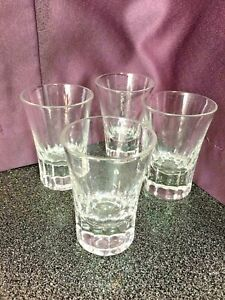 Set of 4 Vintage Shot Glasses Crystal? Heavy Thick Cut Glass Bottom, Very Classy