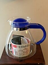NWOB-Termisil Hot Tea Coffee Cold Heat Resistance Glass Pot Warmer BLUE Wolomin