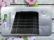 SET 36 3 SIZE BLACK METAL KIRBY HAIR CLIPS GRIPS BOBBY PIN UP BUN STYLE SCHOOL