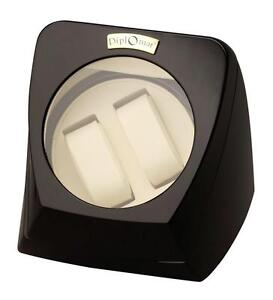 """Double Watch Winder with 4 programmed settings, 4.5"""" Window, Glossy Black Finish"""