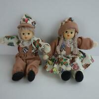 """Christmas Gingerbread Boy and Girl Small Dolls Bisque Porcelain Head 6 1/2"""""""