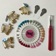 Heart Pin wheel, Seam Ripper, Safety Pins and Needle Threader Pack