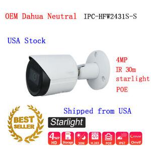 Dahua OEM HFW2431S-S-S2 4MP Starlight IP Bullet Camera IR30m WDR H.265 PoE IP67