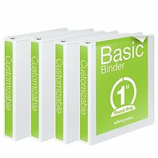 Round Ring View Binder 1 Inch Basic 362 Series Customizable White 4 Pack