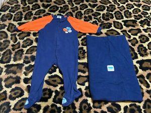 INFANT SIZE 3-6 Months Sleeper Orange Navy Blue + Navy Blue Blanket GERBER BRAND