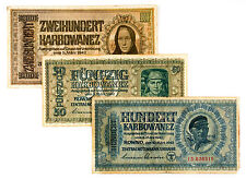3 different Ukraine 1942 50, 100 and 200 Karb. Nazi occupation vg-f
