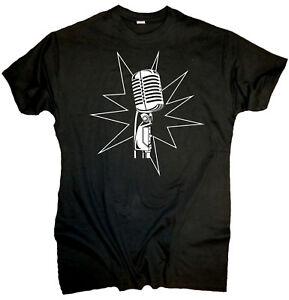 Herren T-Shirt Mikrophone Geschenk Retro the oldschool King Jazz Blues singer