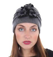Ladies Girls Lisburn Wool Warm Winter Hat with Flower Trim One Size