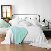 Shabby Vintage Chic White Chenille Queen Bedspread King Doona Quilt Cover Set