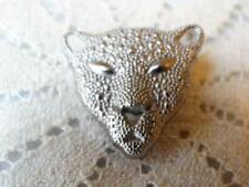 New listing Wonderful Silver Metal Cat Panther Kitty Realistic Button