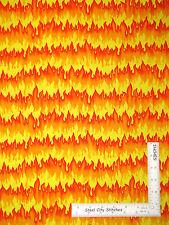 Flame Fire Spark Burn Yellow Orange Cotton Fabric Kanvas Studio Hot Rods - Yard