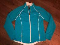 Ralph Lauren Stretch, Size Large, Aqua & White, Zip up Jacket w Pockets, Active