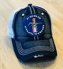 FORD MUSTANG Trucker Denim Hat Cap Adjustable Distressed Embroidered Patch Style