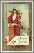 Santa Claus Rooftop White Reindeer 3015 Postcard