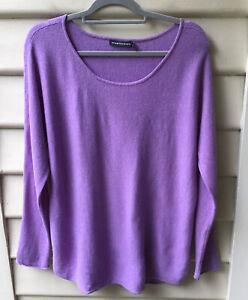 Sportscraft Lavender Wool Jumper Cashmere Scoop Neck Purple M 12 Curved Hem Top